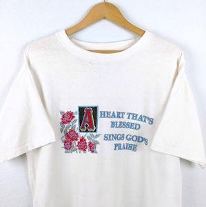 Vtg Jesus Cross Christian Roses 90s Graphic Tshirt